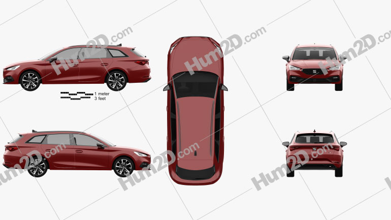 Seat Leon FR sportstourer 2020 car clipart