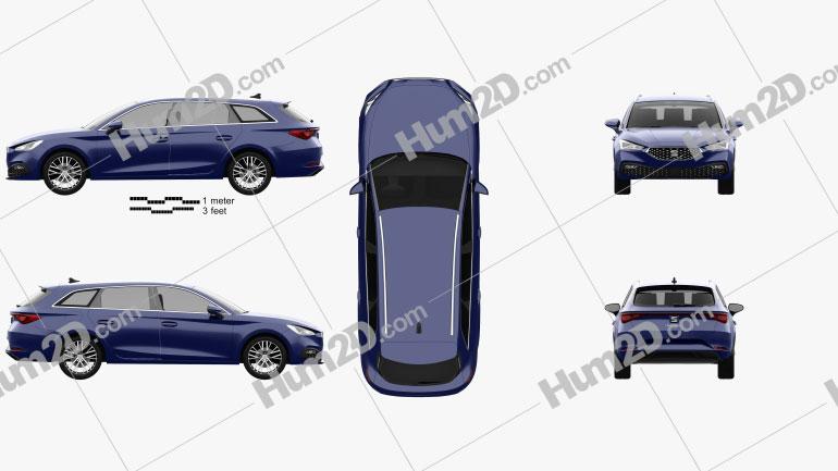 Seat Leon sportstourer Xcellence 2020 car clipart
