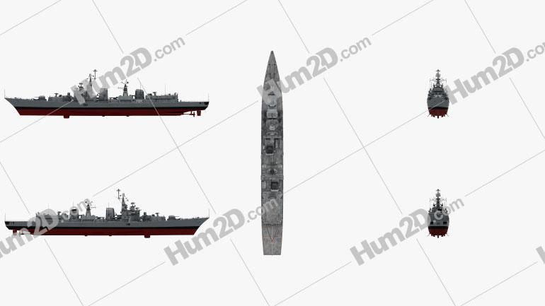 Delhi-class destroyer Ship clipart