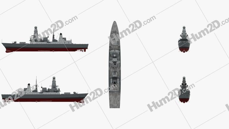 HMS Daring D32 Clipart Image