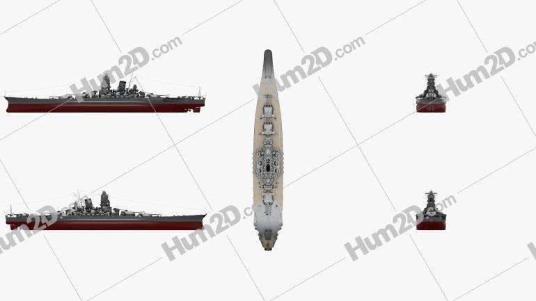 Japanese battleship Yamato Clipart Bild