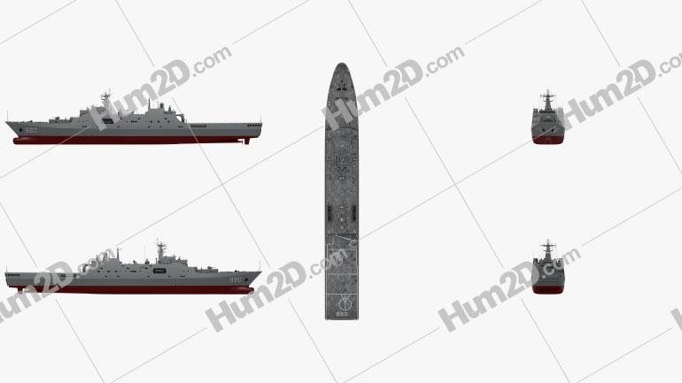 Type 071 amphibious transport dock Ship clipart