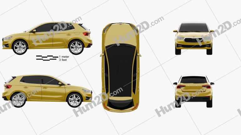 Skoda Fabia hatchback 2022 car clipart