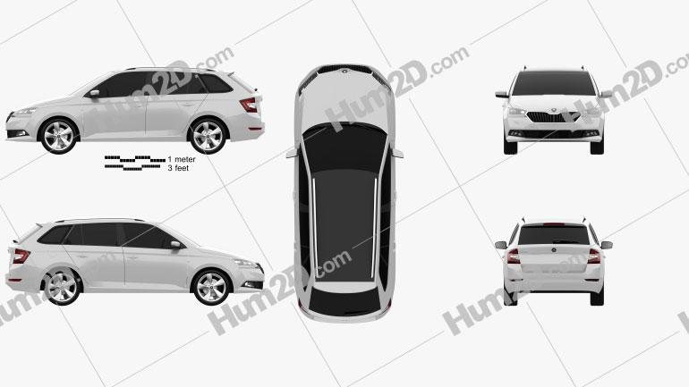 Skoda Fabia combi 2018 car clipart