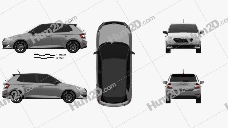 Skoda Fabia Monte Carlo hatchback 2018 car clipart
