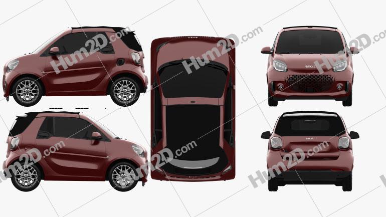 Smart ForTwo EQ Prime Cabriolet 2020 car clipart