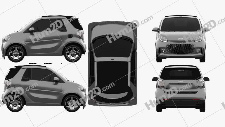 Smart ForTwo EQ Pulse Cabriolet 2020 car clipart