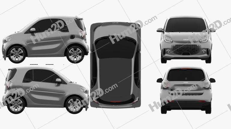 Smart ForTwo EQ Prime coupe 2020 car clipart