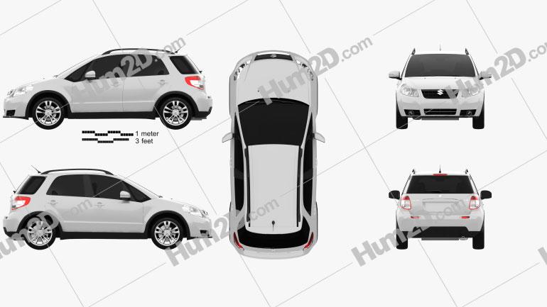 Suzuki (Maruti) SX4 hatchback 2012 Clipart Image