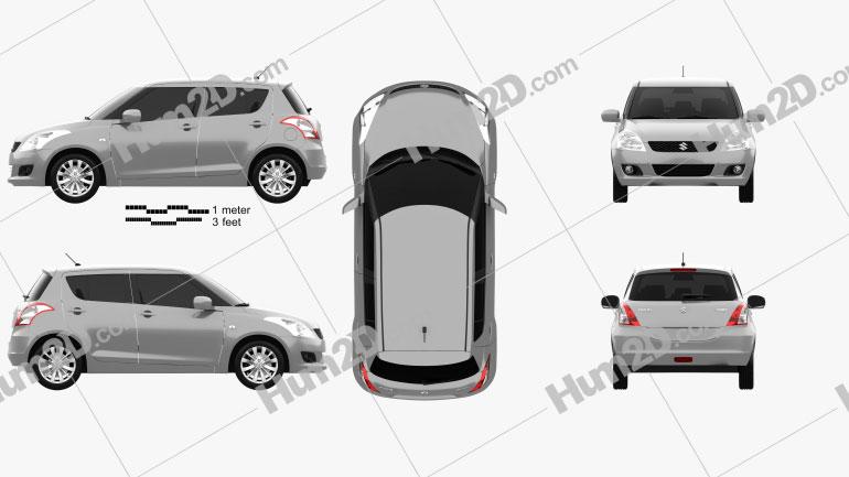 Suzuki Swift hatchback 5-door 2012 car clipart