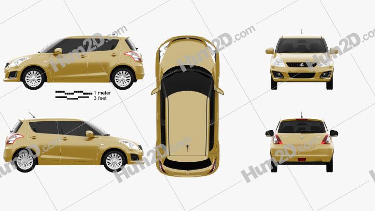Suzuki Swift hatchback 5-door 2014 Clipart Image