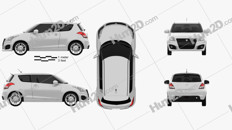 Suzuki Swift Sport hatchback 3-door 2014 Clipart Image