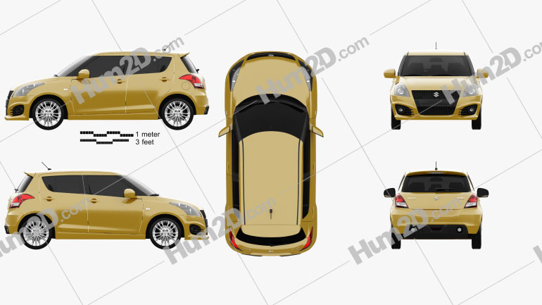Suzuki Swift Sport hatchback 5-door 2014 Clipart Image