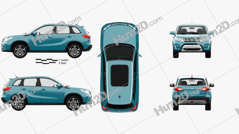 Suzuki Vitara (Escudo) with HQ interior 2015 car clipart