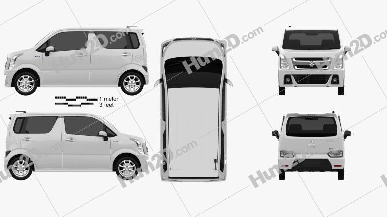 Suzuki Wagon R Stingray Hybrid 2018 clipart