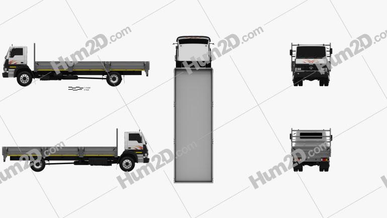 Tata LPT 1518 Flatbed Truck 2019 Clipart Image
