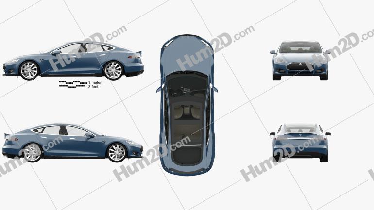 Tesla Model S com interior HQ 2014 car clipart