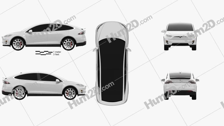 Tesla Model X 2016 car clipart