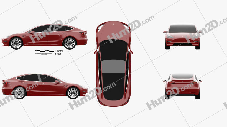 Tesla Model 3 Prototype 2016 car clipart