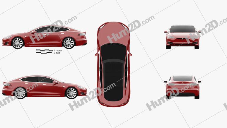 Tesla Model S P90D 2016 car clipart