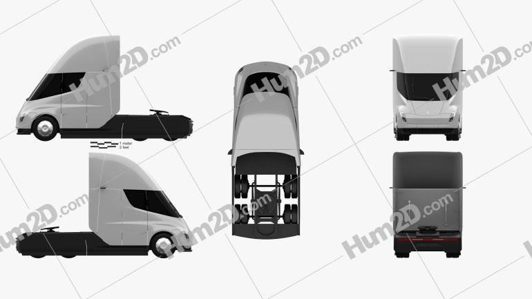 Tesla Semi Sleeper Cab Tractor Truck 2018 clipart