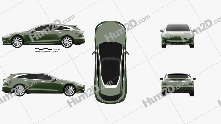 Tesla Model S Remetz Car Shooting Brake 2018 car clipart