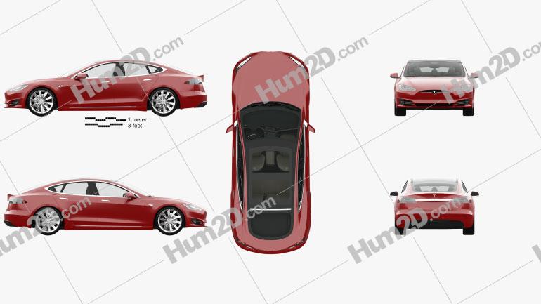 Tesla Model S P90D com interior HQ 2016 car clipart