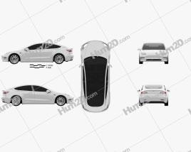 Tesla Model 3 2018 Clipart