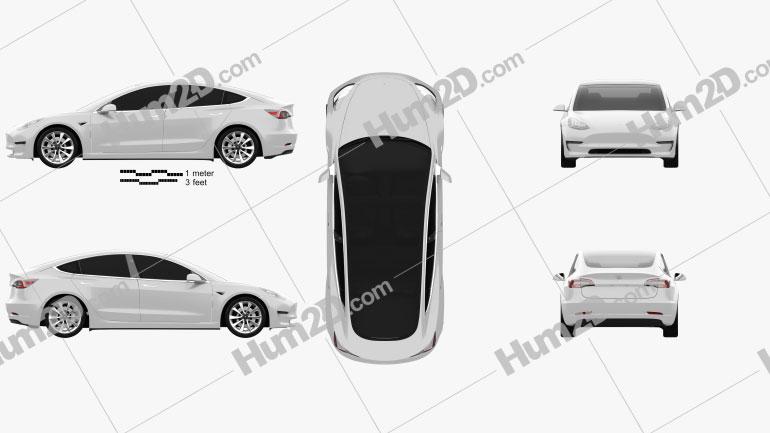 Tesla Model 3 2018 car clipart