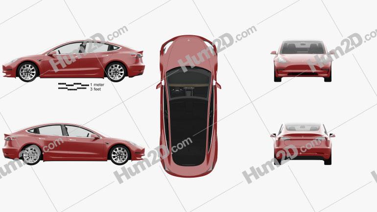 Tesla Model 3 com interior HQ 2018 car clipart