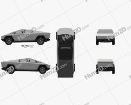 Tesla Cybertruck 2019 car clipart