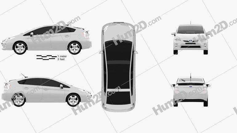 Toyota Prius 2010 Clipart Image