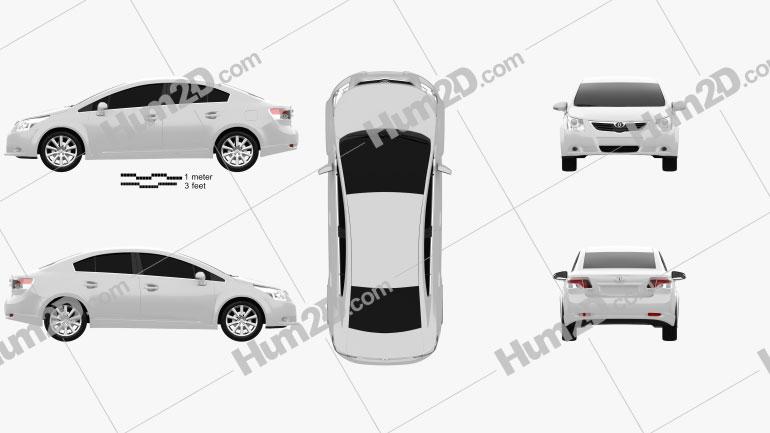 Toyota Avensis sedan 2009 car clipart