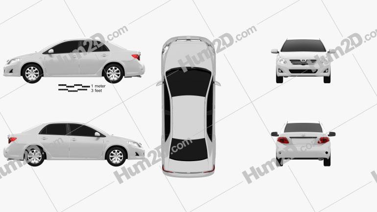 Toyota Corolla 2010 car clipart