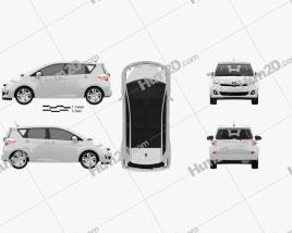 Toyota Ractis (Verso S) 2012 car clipart