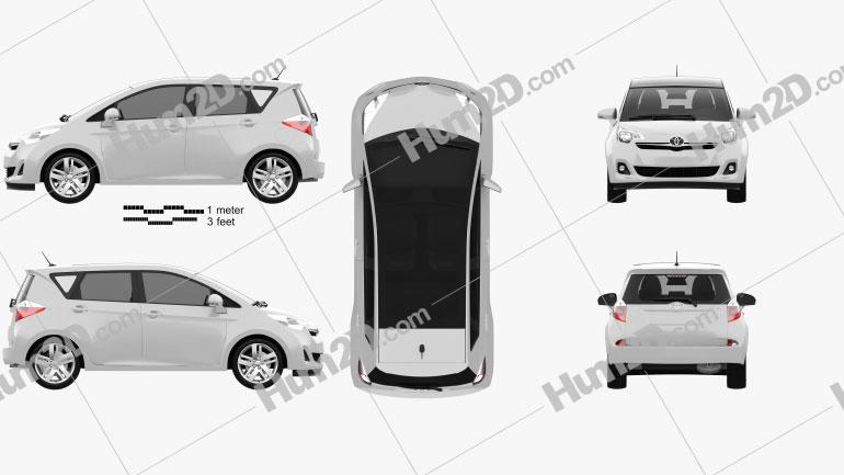 Toyota Ractis (Verso S) 2012 Clipart Image