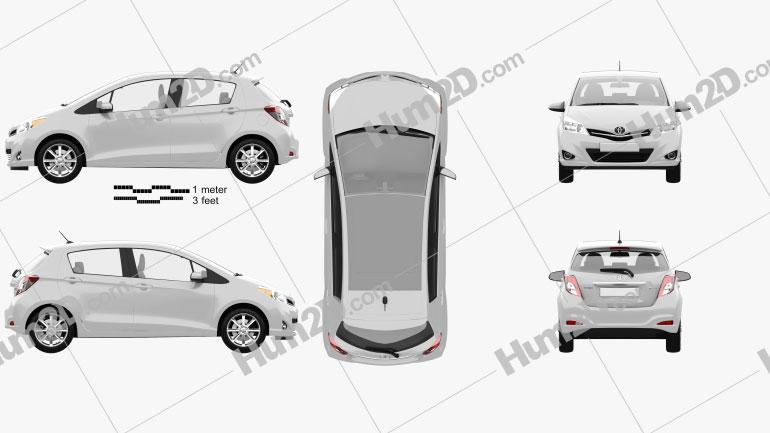 Toyota Yaris (Vitz) 5door 2012 car clipart