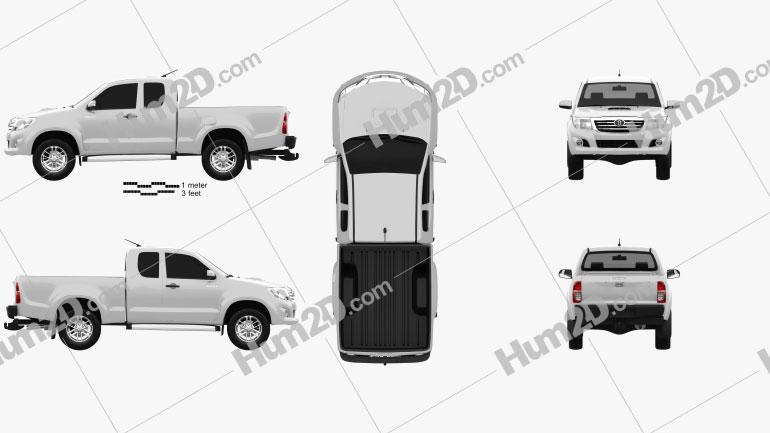 Toyota Hilux Extra Cab 2012 car clipart