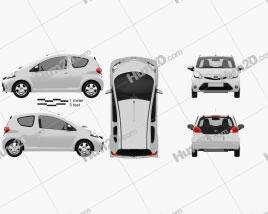 Toyota Aygo 3-door 2012 car clipart