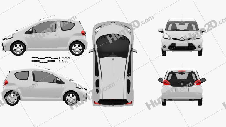 Toyota Aygo 3-türig 2012 car clipart