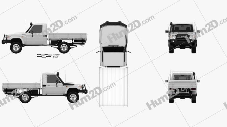 Toyota Land Cruiser (J70) Pickup GXL 2008 car clipart
