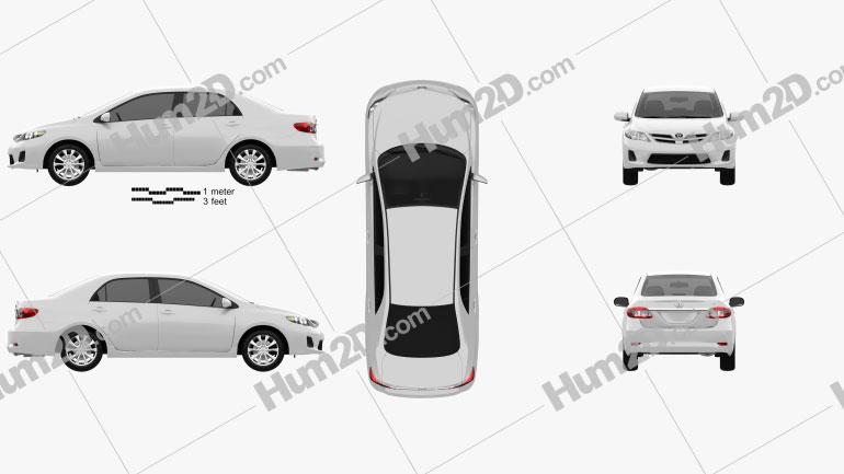 Toyota Corolla LE 2012 Clipart Bild