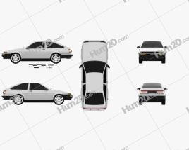 Toyota Sprinter Trueno AE86 de 3 portas 1985 car clipart