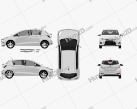 Toyota Yaris (Vitz) Hybrid 2013 car clipart