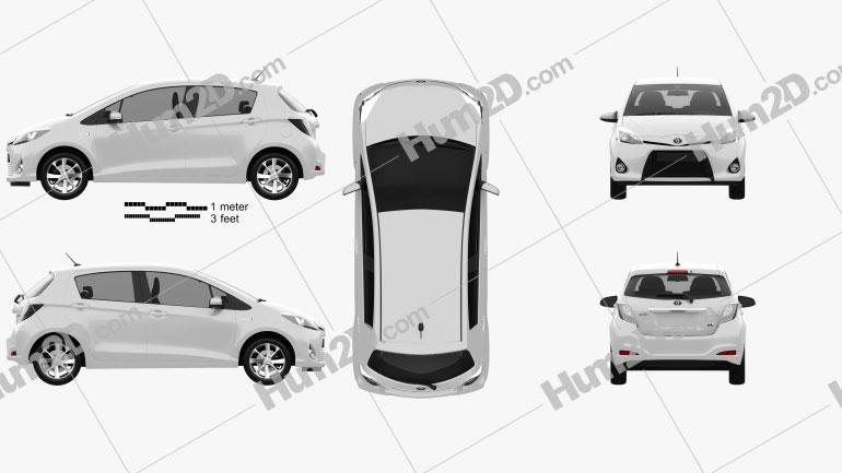 Toyota Yaris (Vitz) Hybrid 2013 Clipart Image