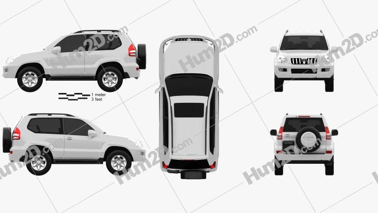 Toyota Land Cruiser Prado (120) de 3 portas 2009 car clipart