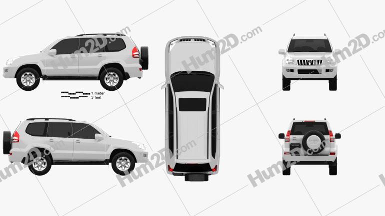 Toyota Land Cruiser Prado (120) 5-door 2009 Clipart Image