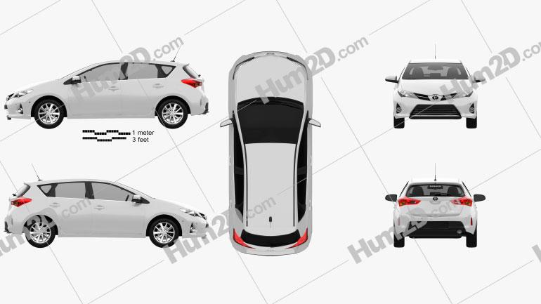 Toyota Auris Schrägheck 2013 Clipart Bild