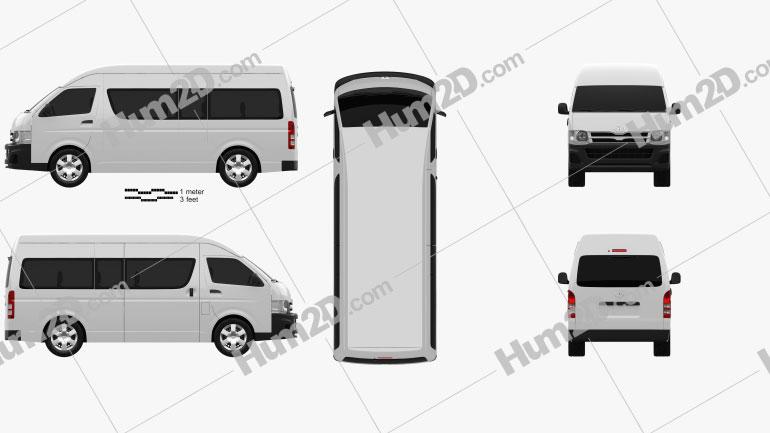 Toyota HiAce Super Long Wheel Base 2012 Clipart Image