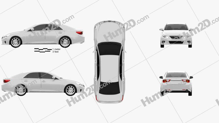 Toyota Mark X 2012 Clipart Bild
